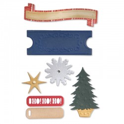 Fustella Sizzix Thinlits - Labels & Snowflakes