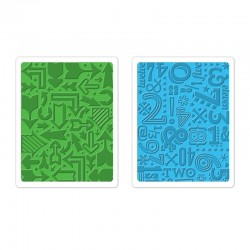 Fustella Sizzix Texture Impressions - Arrows & Numbers Set