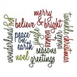 Fustella Sizzix Thinlits T. Holtz - Holiday Words: Script