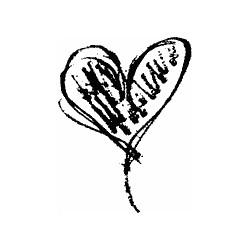 Timbro legno Impronte D'Autore - cuore graffito