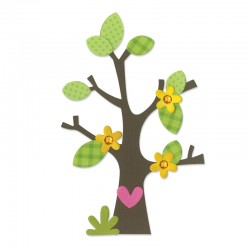 Fustella Sizzix Bigz - Tree w/Flower, Heart & Leaves