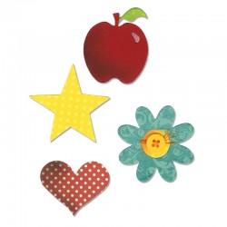 Fustella Sizzix Bigz - Apple, Flower, Heart & Star