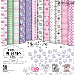 "Kit carte ModaScrap - Color of Puppies Girl 12""x12"""