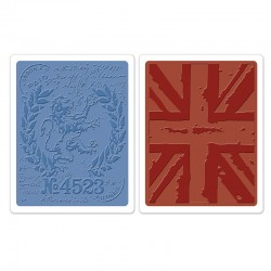 Embossing Folder Tim Holtz  -  London Icons & Union Jack Set